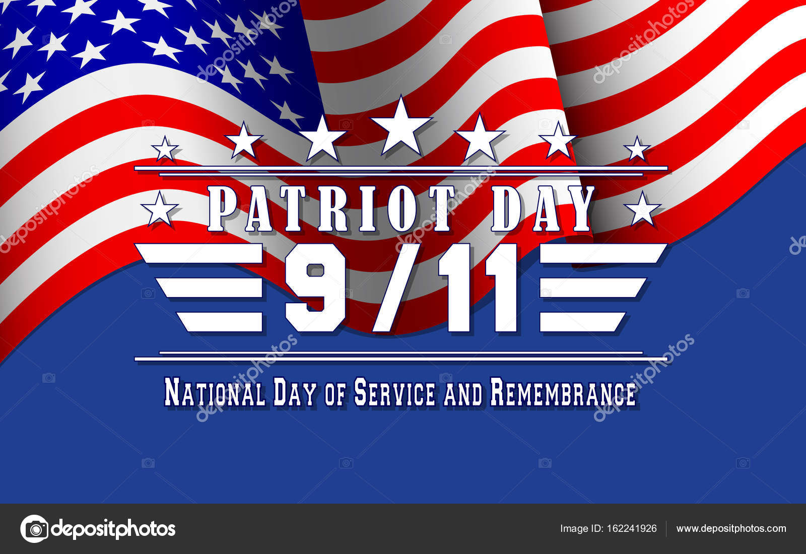 vector patriot day background with us flag and lettering template