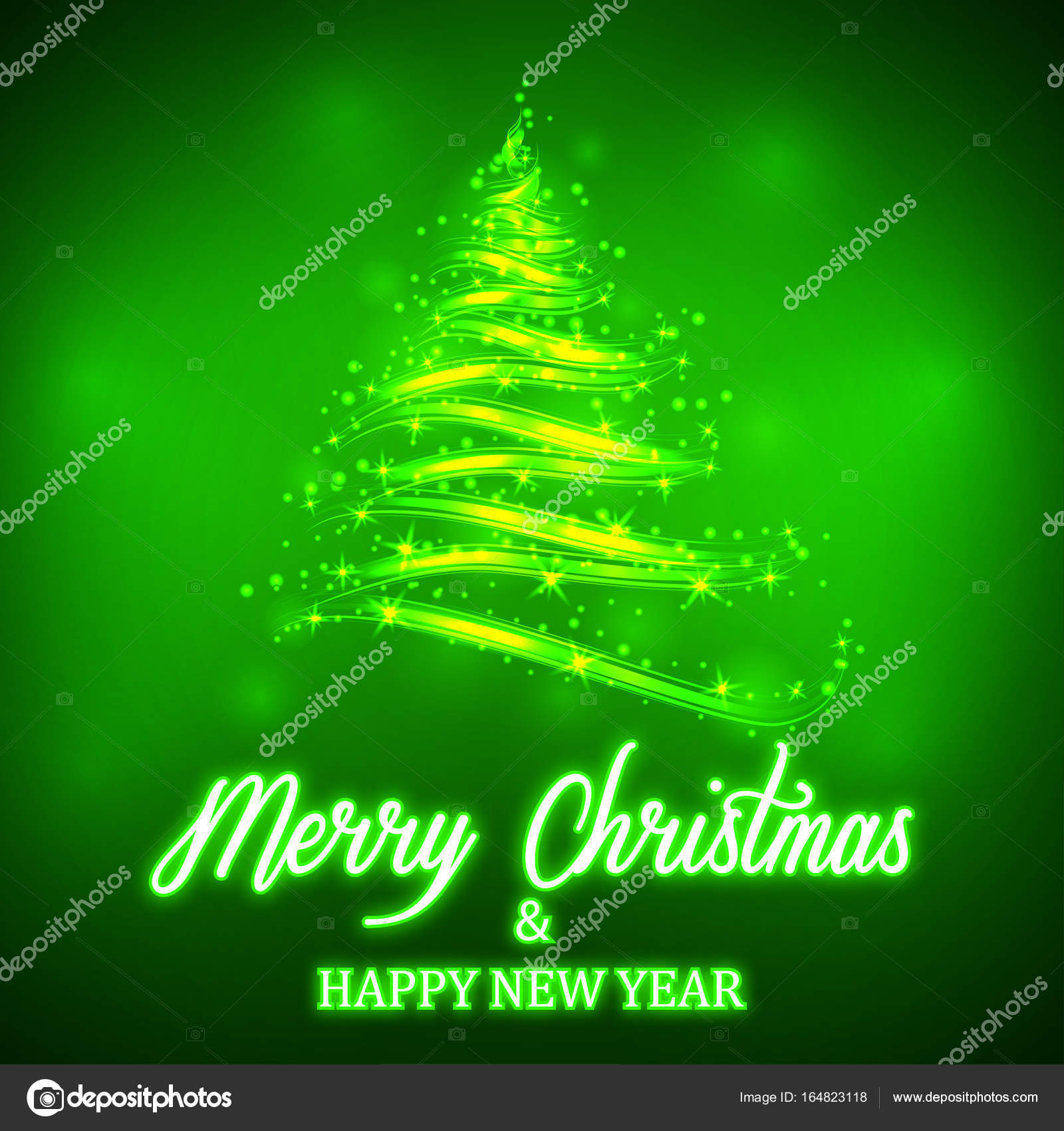 shiny green christmas tree with neon merry christmas and happy new year lettering on colorful background template for winter holidays vector illustration