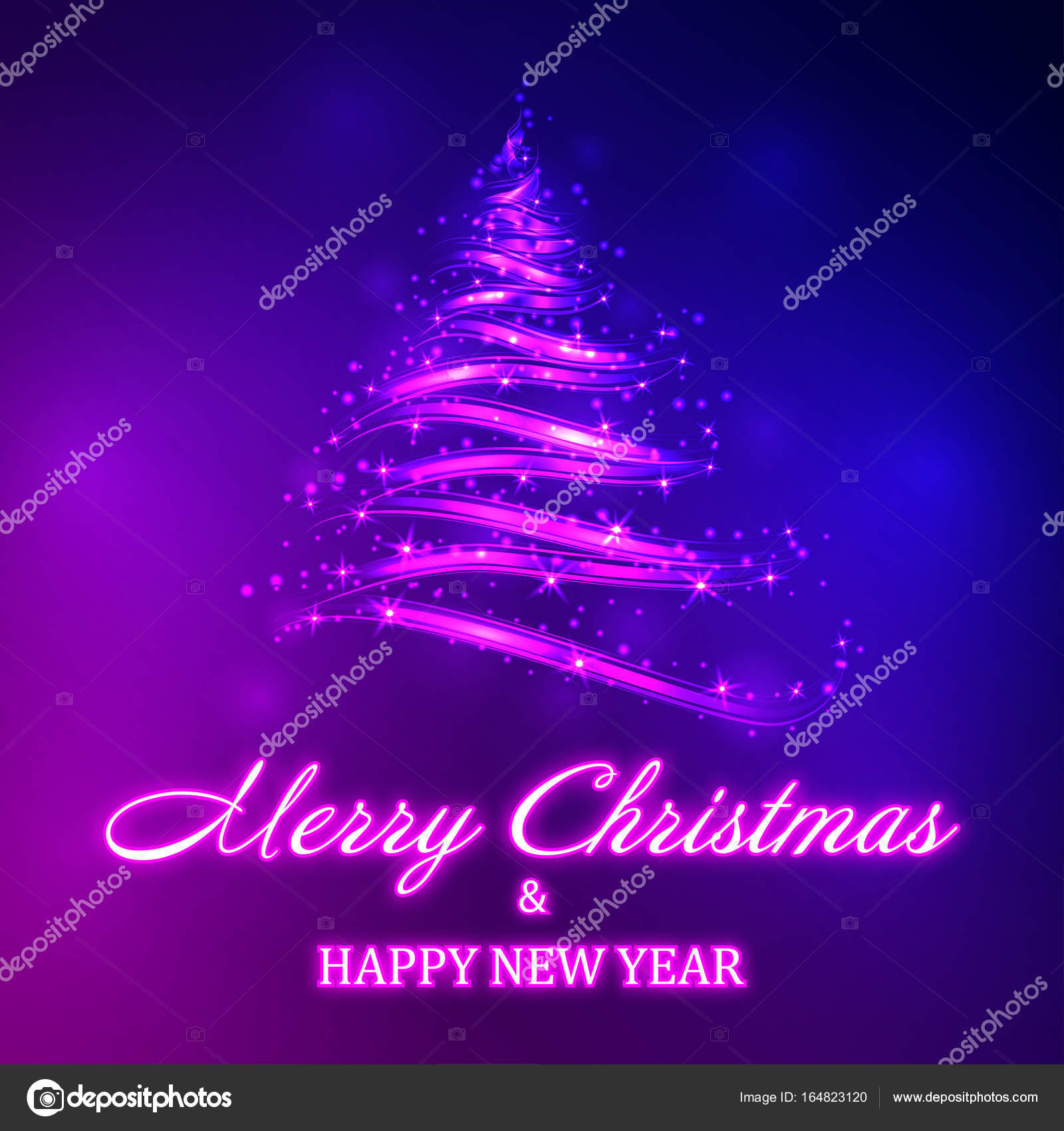 Vector Shiny Christmas Tree With Neon Merry Christmas And Happy