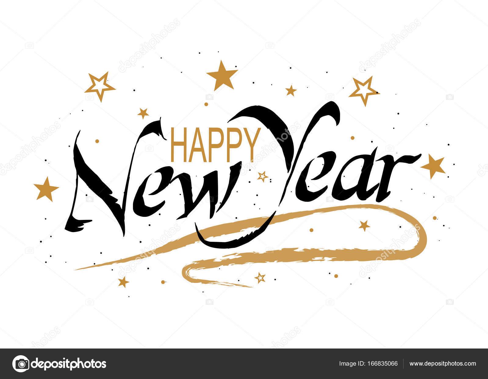 Happy New Year >> Vektor Happy New Year Yazi Yildiz Ve Kar Ile Tatil Hat Afis Poster
