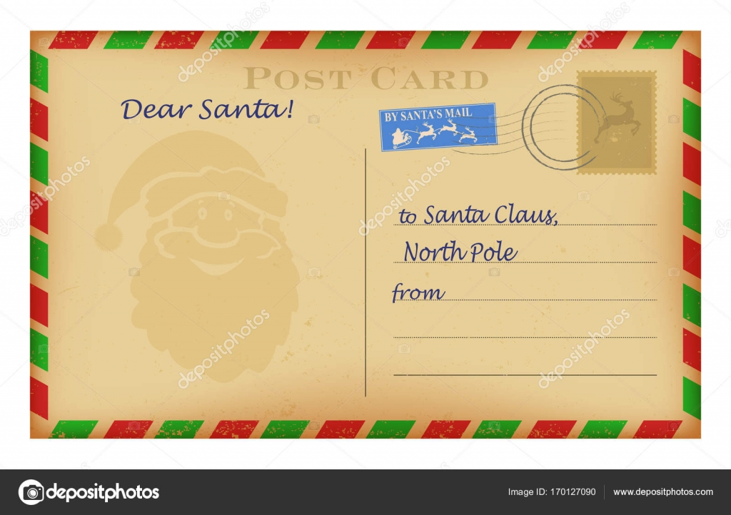Vector vintage Christmas letter to Santa template  Wish list design