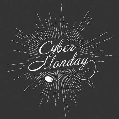 Vector Cyber Monday promotional banner template with lettering composition and light rays.