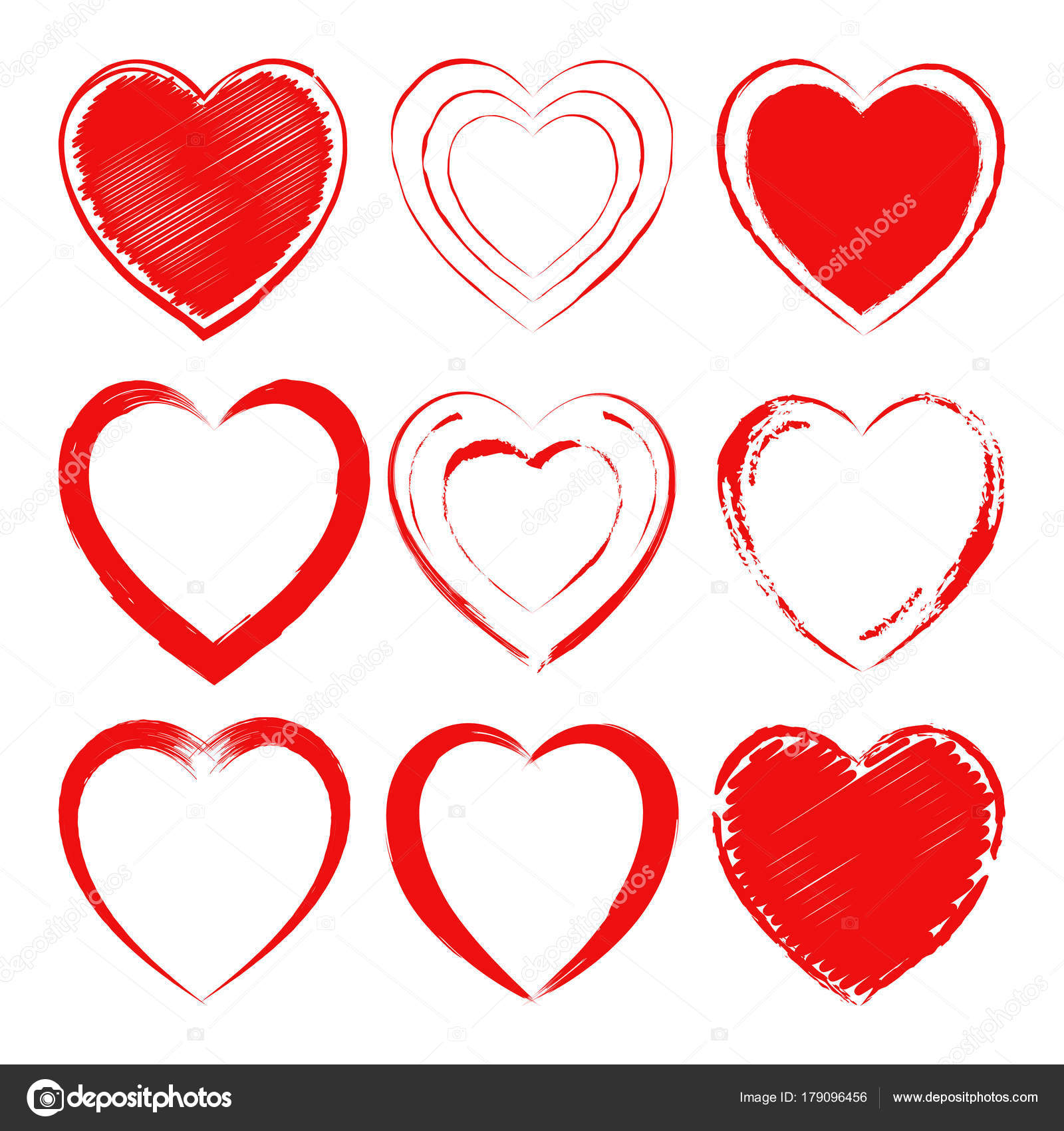 Vector set of different hand drawn hearts. Design elements for ...
