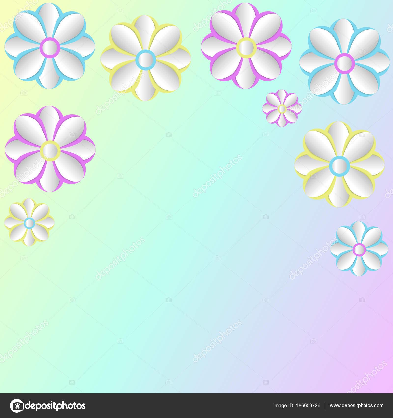 Cutout Paper Flowers Vector Greeting Stock Vector Tanya2015