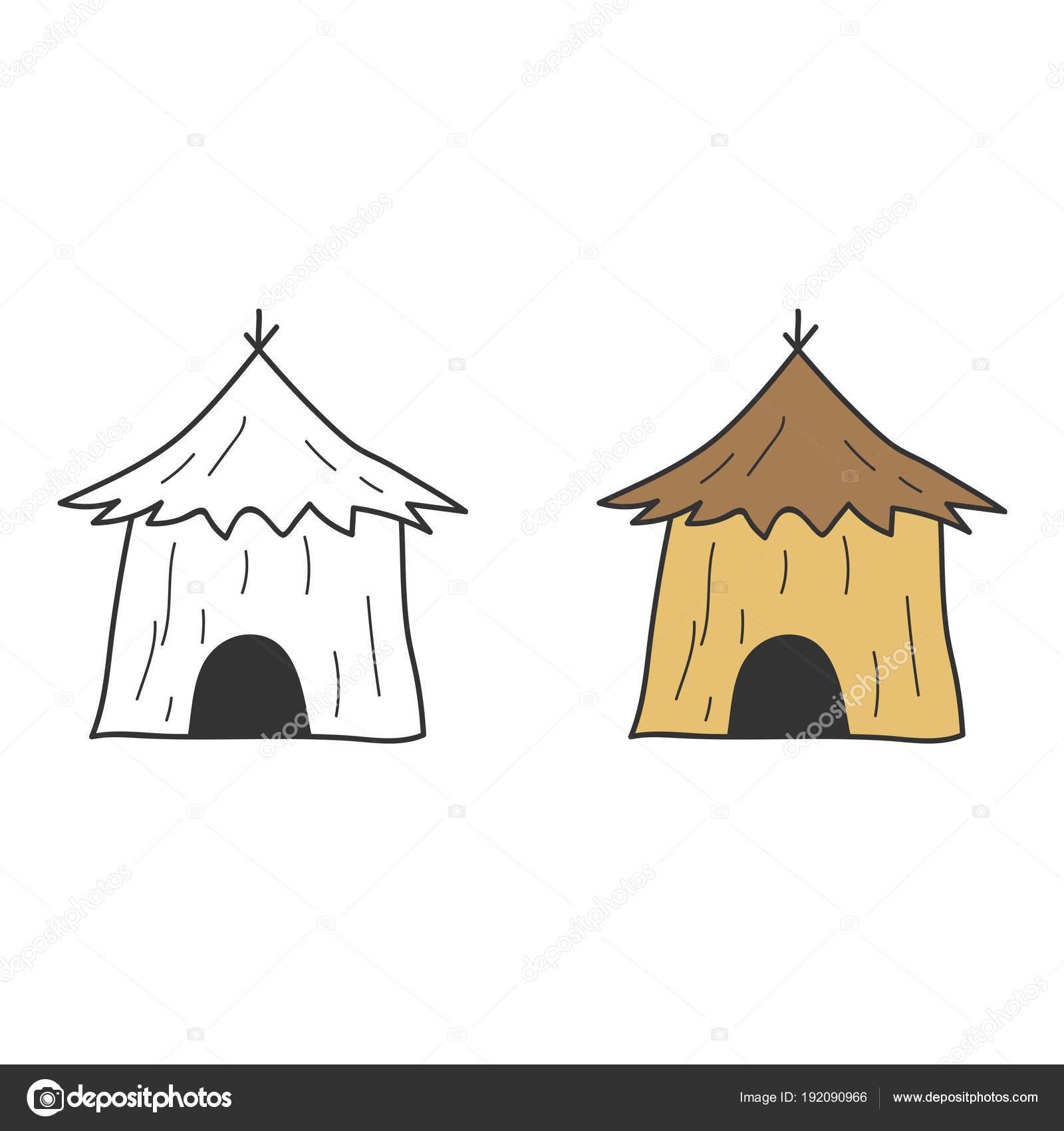 çocuk S Basit Ev Kulübe Thatched çatı Zavallı Basit Ev Boyama Stok
