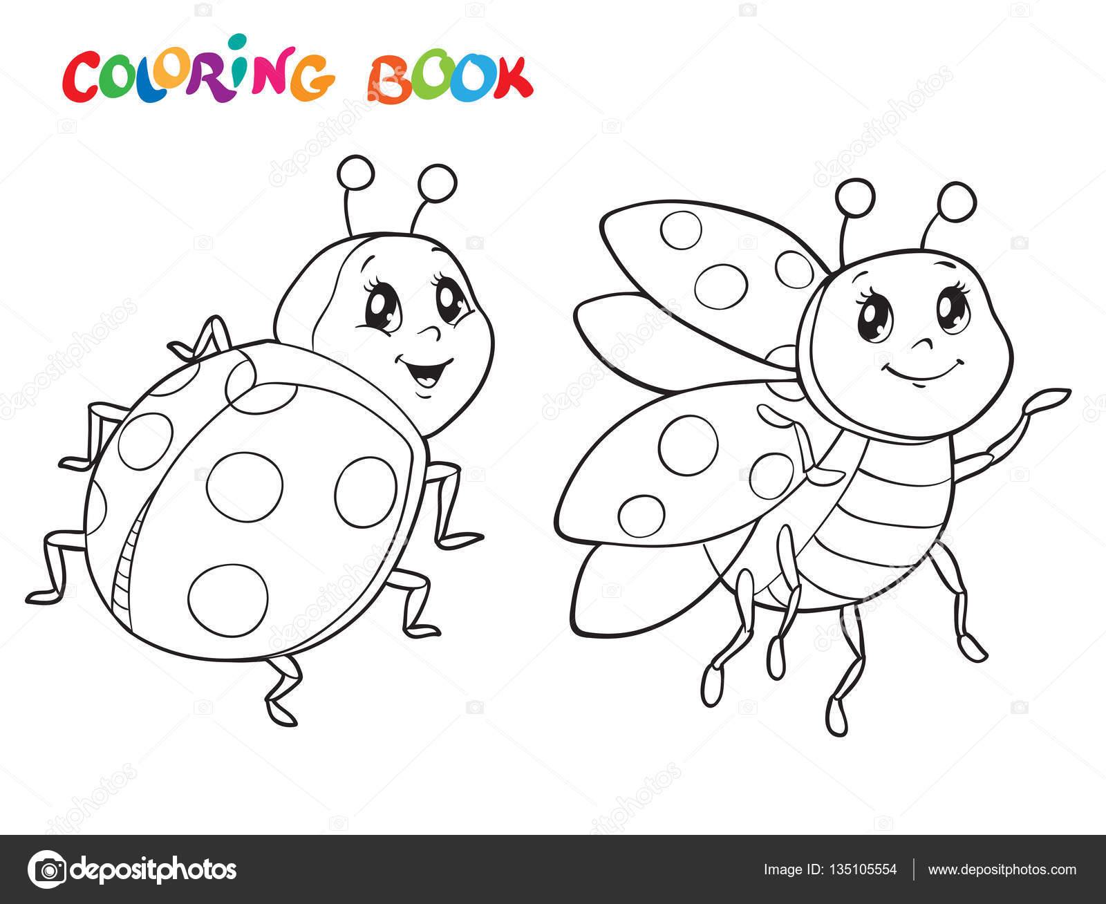 Coloring Book With Ladybug Vector Illustration Isolated On White