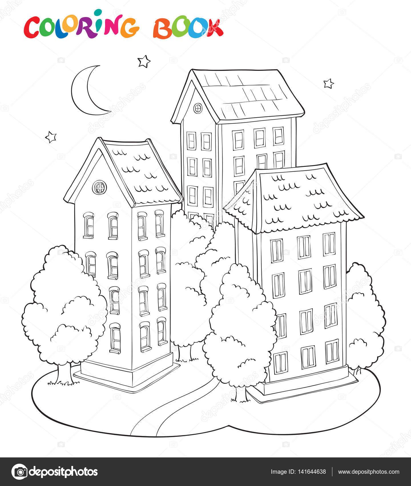 Sayfa Kitap çocuklar Için Ağaçlar Ve Ay Ile Ev Boyama Stok