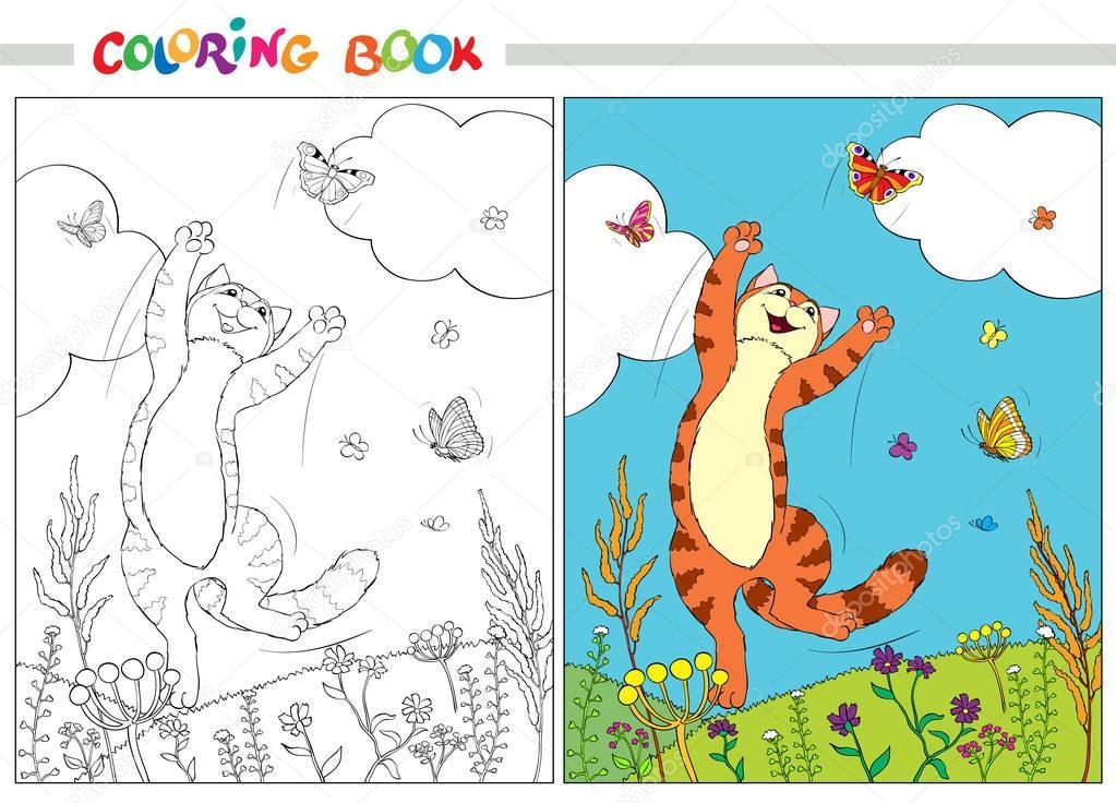 Книжка-раскраска. Рыжий Кот, перепрыгивая через бабочки в ...