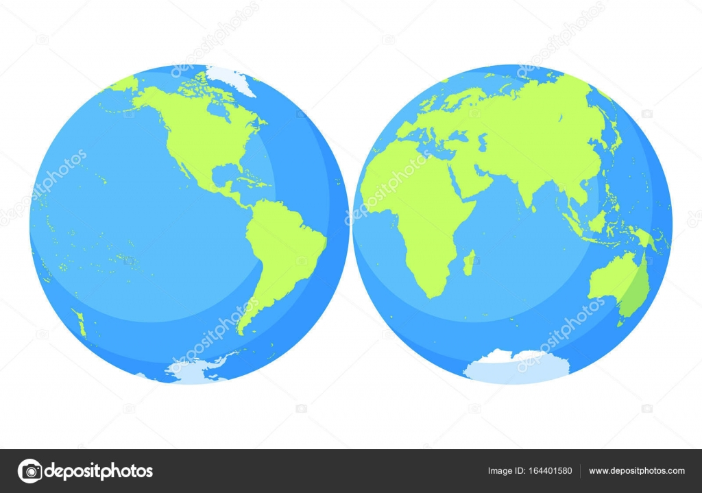 earth globe world map set planet with continentsafrica asia australia europe north america and south america vector by linaflerova