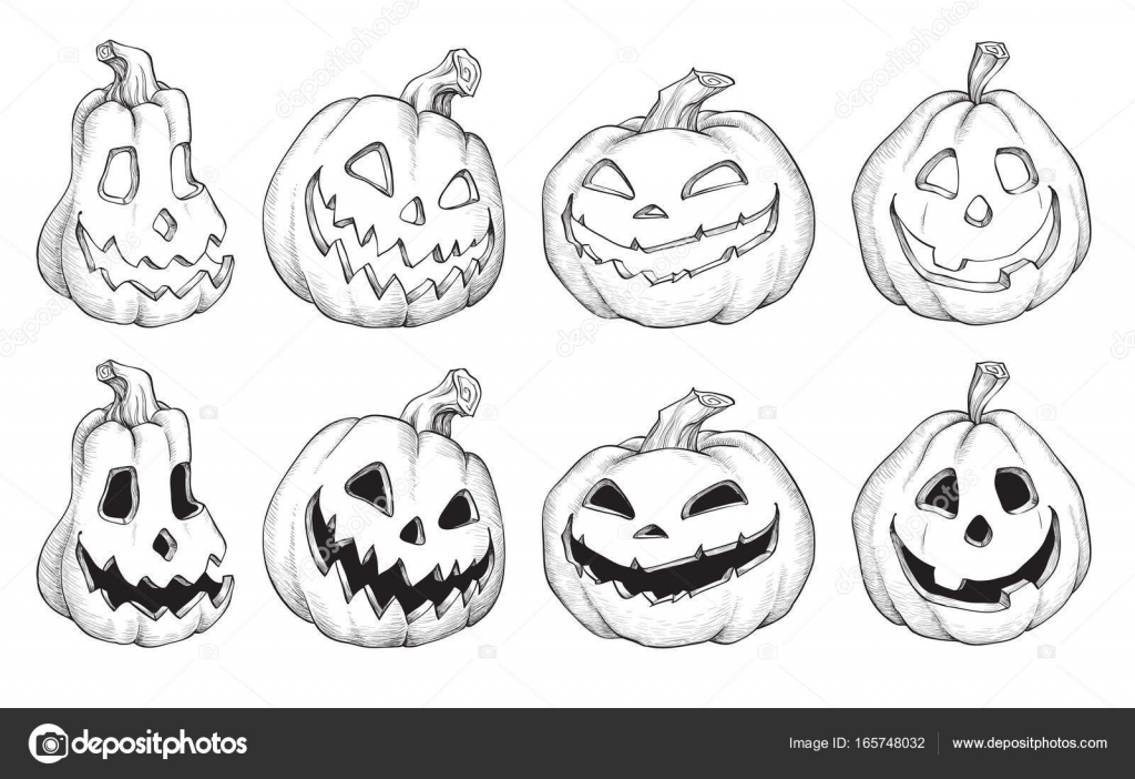 Vector ilustración de negro y blanco Halloween calabazas — Vector de ...