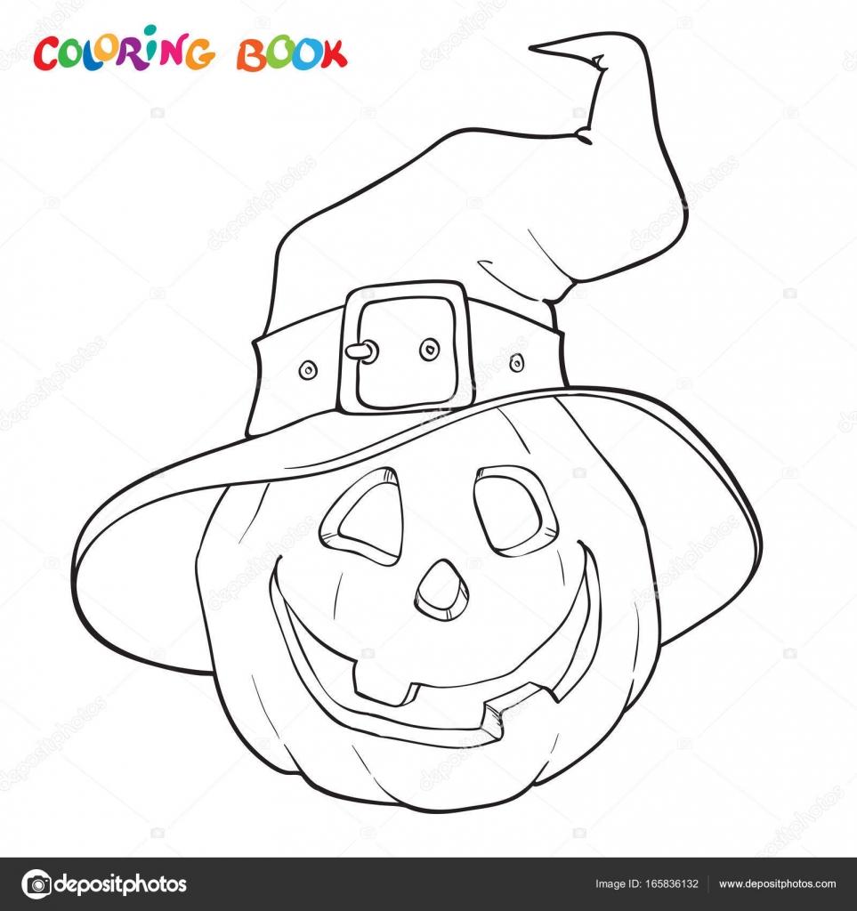 Halloween coloring book. Pumpkin in the hat. — Stock Vector ...