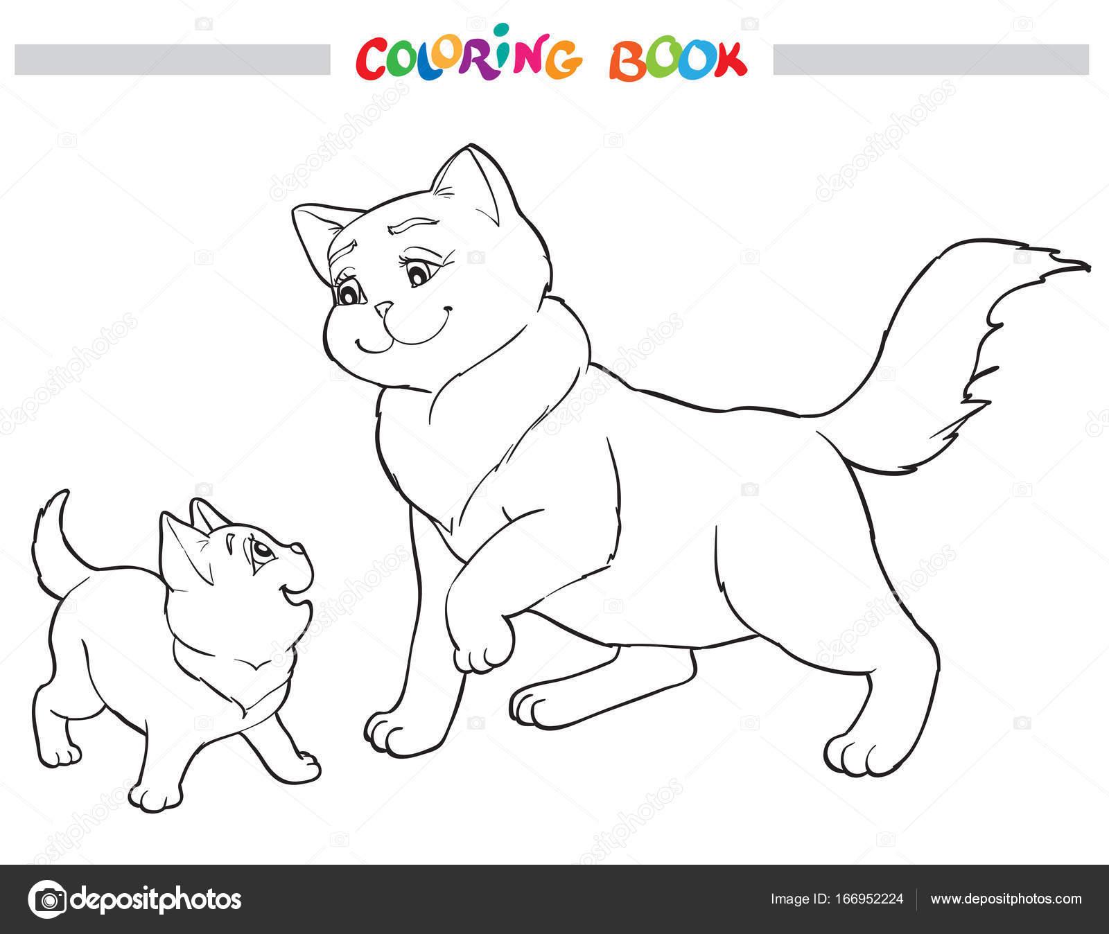 Vektör Illüstrasyon Kedi Anne Ile Yavru Kedi Boyama Kitabı Stok