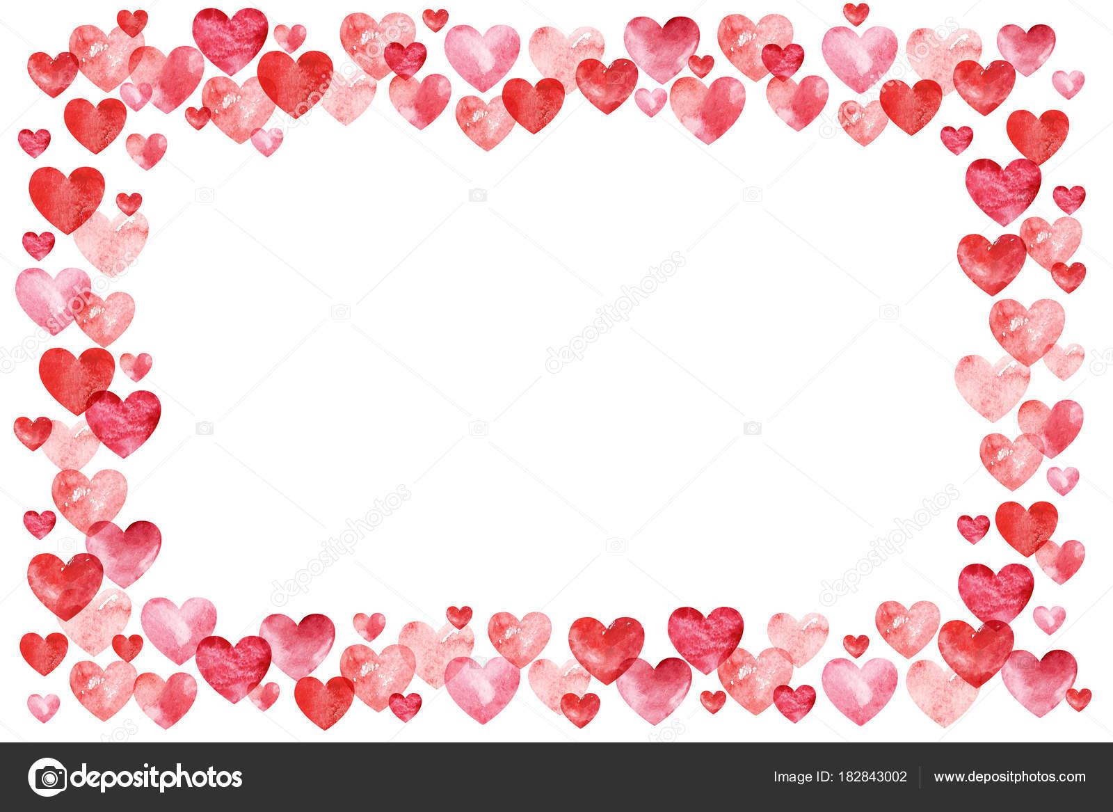 Valentinstag Hintergrund. Rote Herzen Rahmen. Rahmen mit Platz für ...