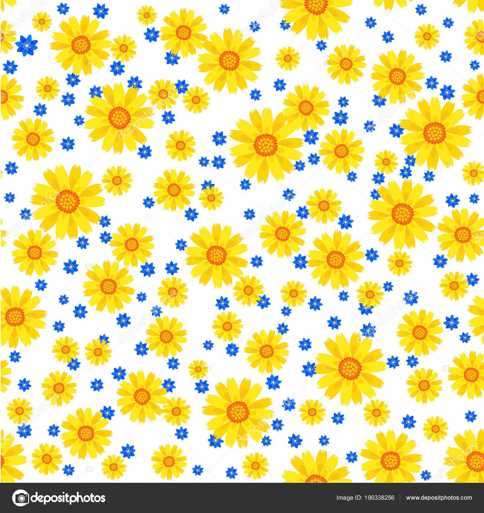Lovely floral seamless pattern vector illustration with yellow and lovely floral seamless pattern vector illustration with yellow and blue flowers stock vector izmirmasajfo