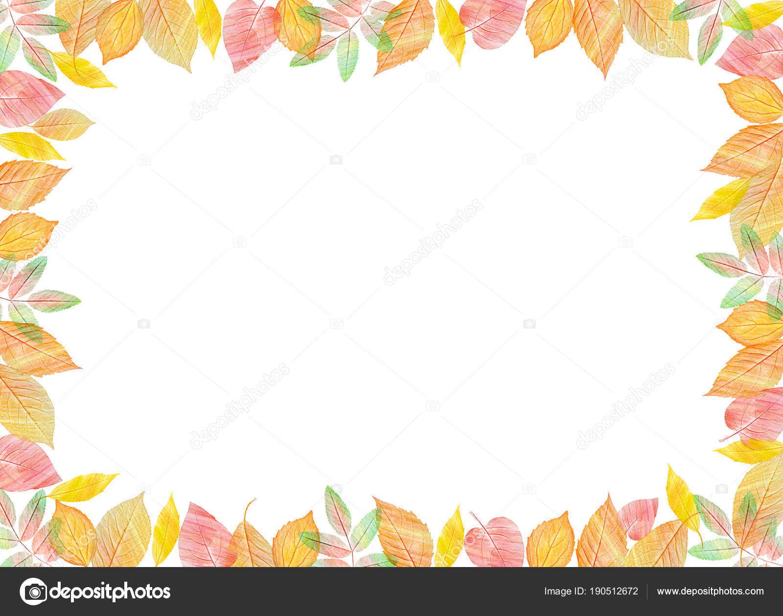 Herbst Vorlage Leuchtend Bunte Herbstblätter Auf Horizontalen