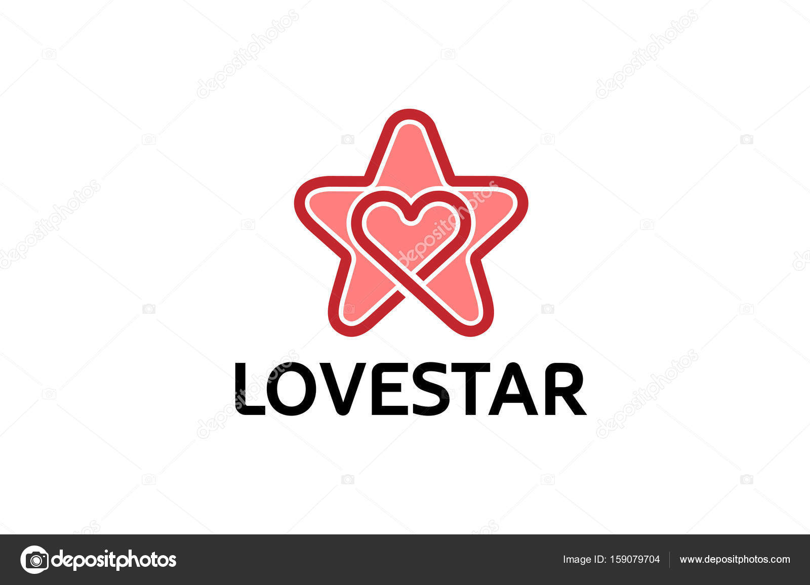 Creative Star Heart Symbol Logo Design Illustration Stock Vector