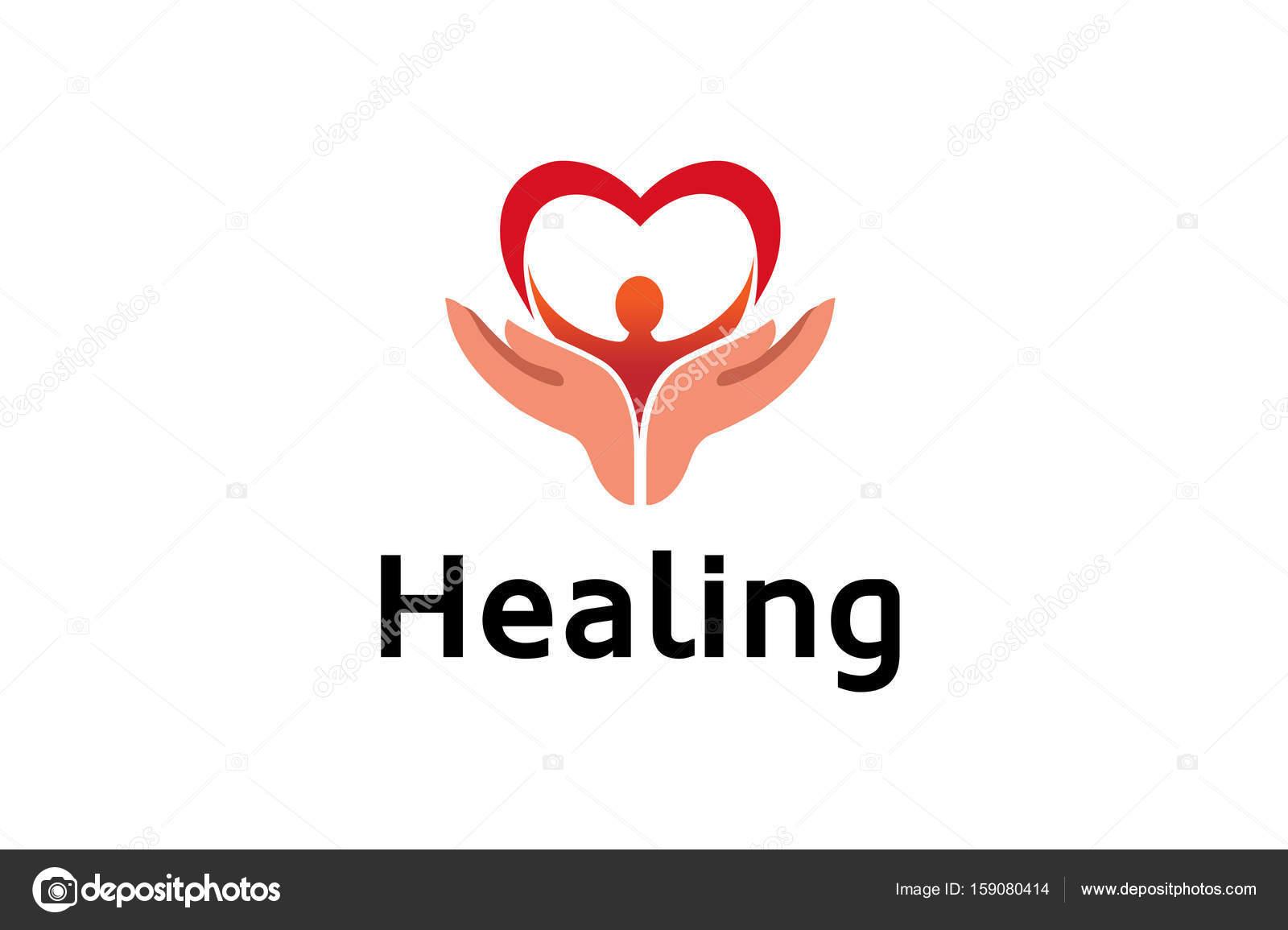 Kreative Hände Halten Menschliche Körper Mit Herz Symbol Logo Design ...