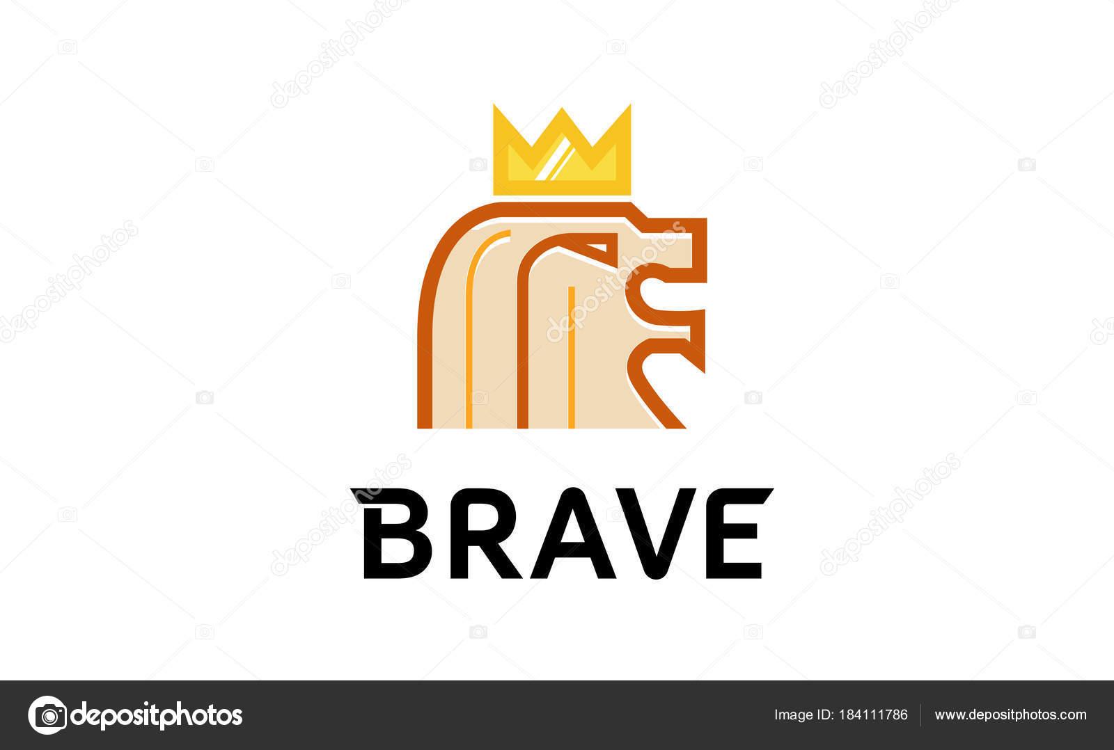 Lion Head Crown Logo Design Illustration Stock Vector