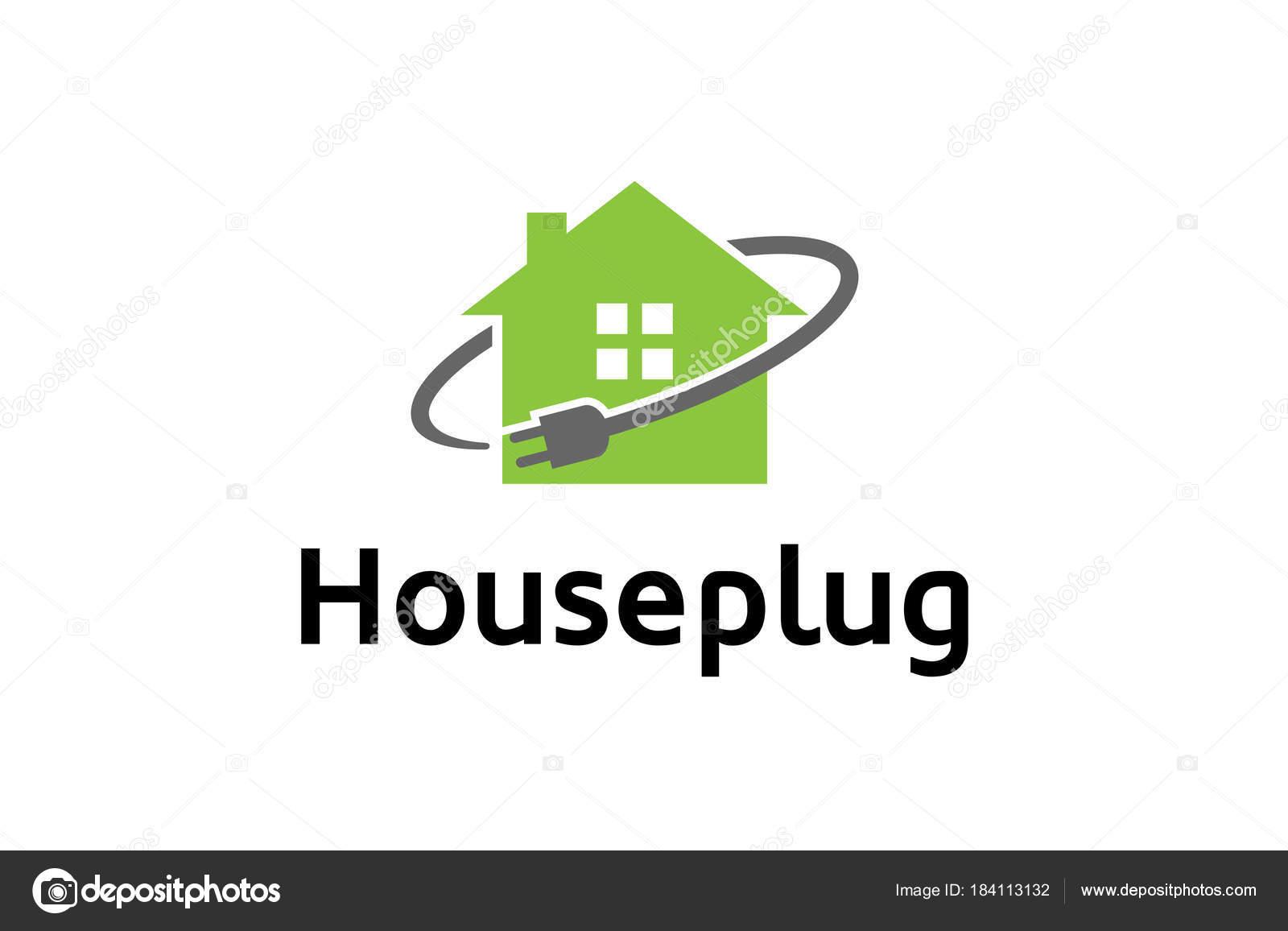 Haus Plug Power Kabel Symbol Logo Design Darstellung — Stockvektor ...