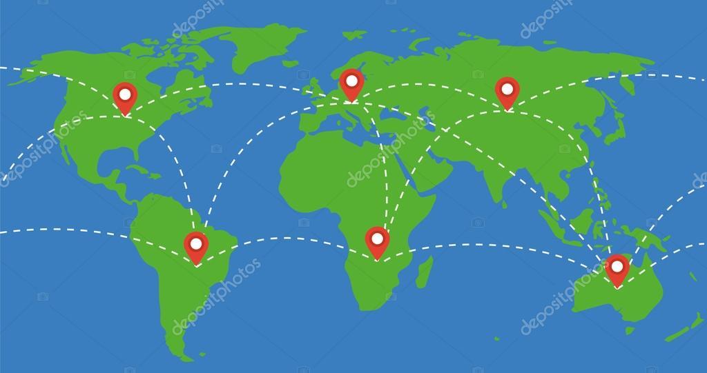 Mapa De Localização De Pontos De Vetor Localização De: Mapa-múndi Viajar A Ilustração Do Conceito De Mundo