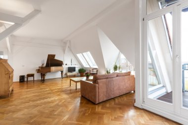 living room with parquet floor in beautiful apartment home