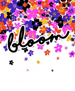 Floral card with bloom word