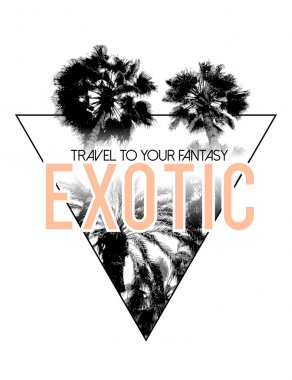 Travel logo with Palm trees in triangle