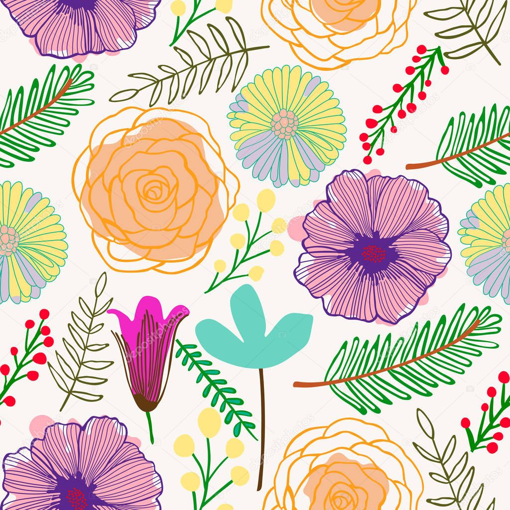 Colorful Abstract Flowers Pattern Stock Vector