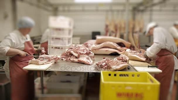 dělníci nakrájela maso jatečně upravených těl hovězí vepřové syrové maso pro výrobu klobás