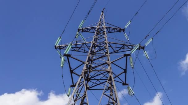 Electricity transmission. High-voltage wires on an electrical support. Generators insulators power. Renewable energy