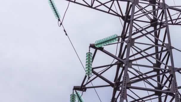 Support high voltage power lines. Energy industry, electricity generation, wire-based transmission. close-up.