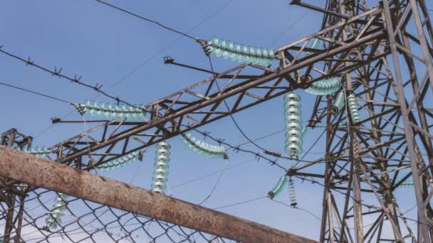 High voltage power supply substation at industrial plant. Electric wires on supports. Distribution and transmission of electricity. electrical equipment