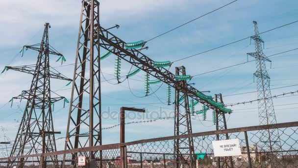 High-voltage wires, power station. Energy industry. Production and transportation of electricity.