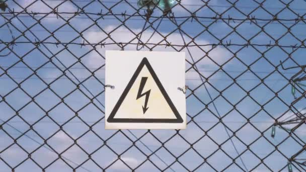 Danger of electric shock. electrical substation. Distribution and transmission of electricity. High voltage danger to life. Warning sign