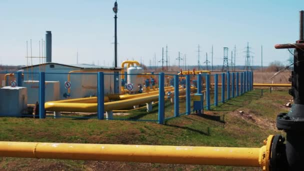 Gas storage and supply station. Pipelines for gas transportation. Shut-off valves. Oil and gas industry.