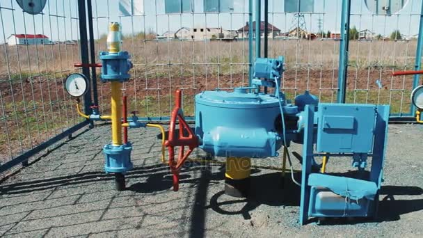 Pump station for pumping gas. Supply of natural gas to the public. Profitable business. Oil and gas industry. Production of fuel from natural resources. Pipeline with pressure gauges and a shut-off