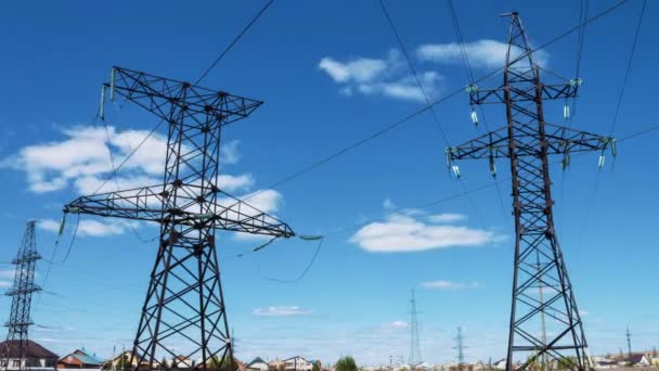 High-voltage wires on electrical supports. Electric power supply. Transportation of electricity by wire. Energy industry. profitable business. Generators and transformers
