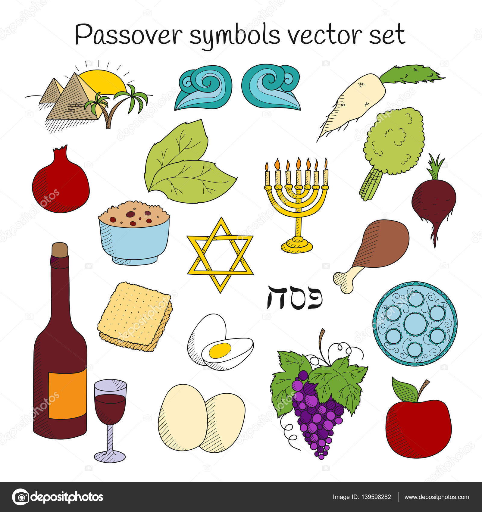 Coolection Of Doodle Symbols Of Jewish Holiday Passover Stock