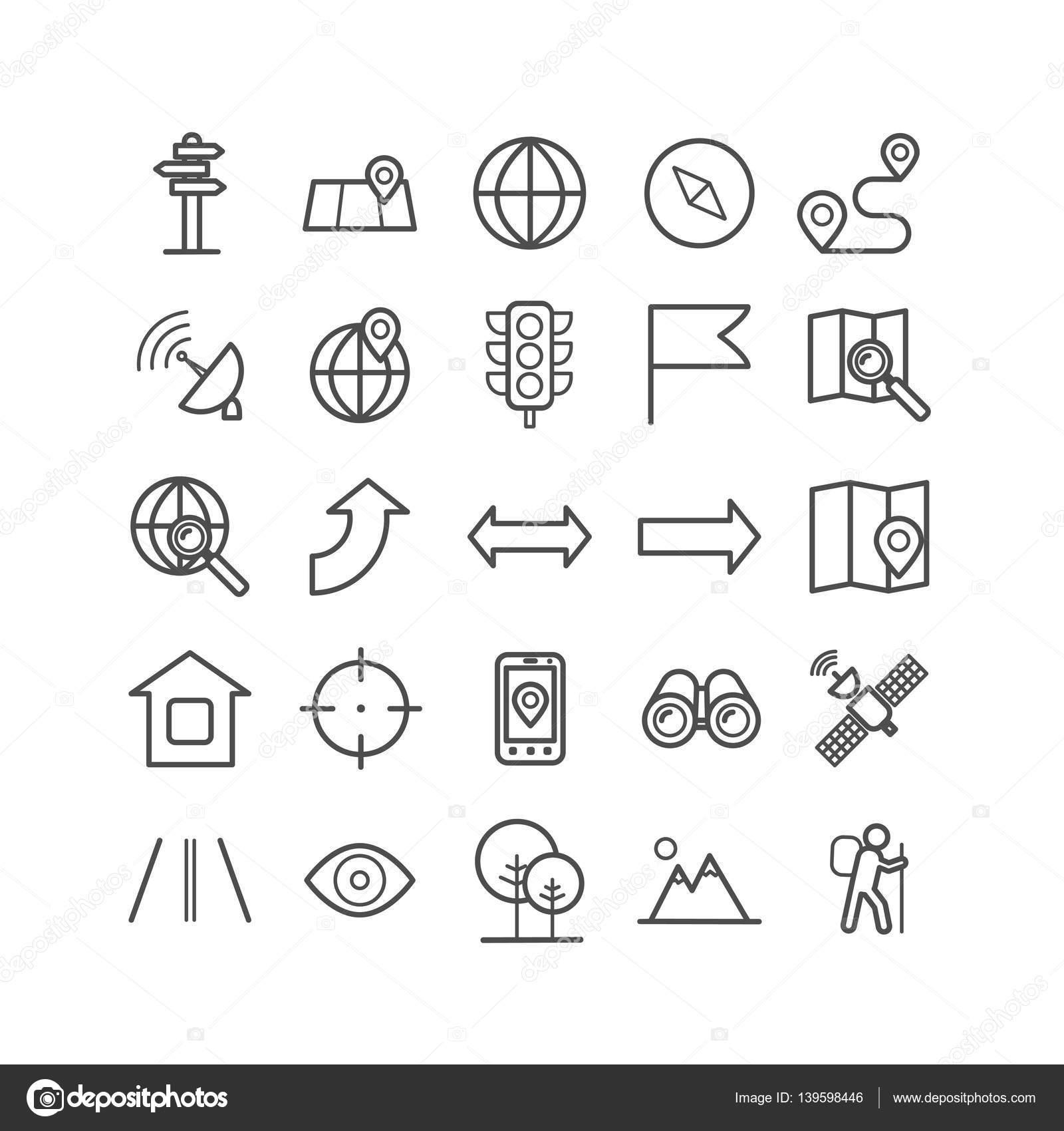 06d2f9980b9be Conjunto de iconos de navegación de contorno. Iconos lineales para  impresión