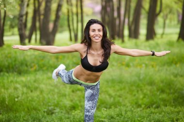 Sport fitness woman doing outdoor cross training workout
