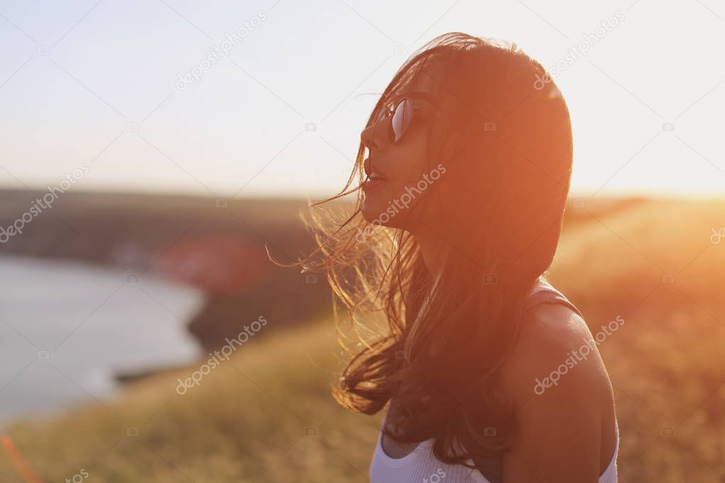 girl enjoying wind