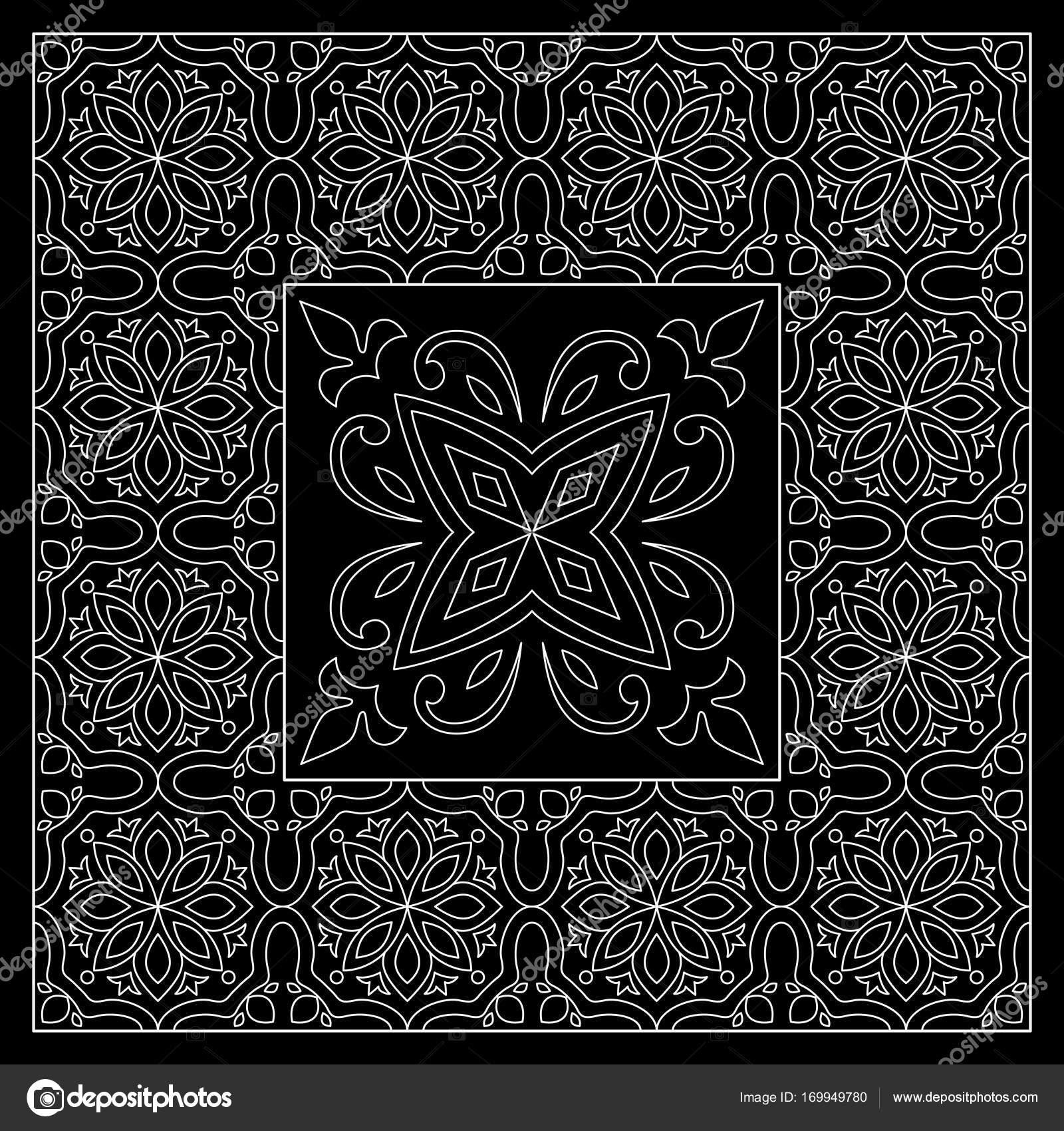 f5f8ffe8 Blanco y negro bandana impresión con mosaico estilo marroquí del ...