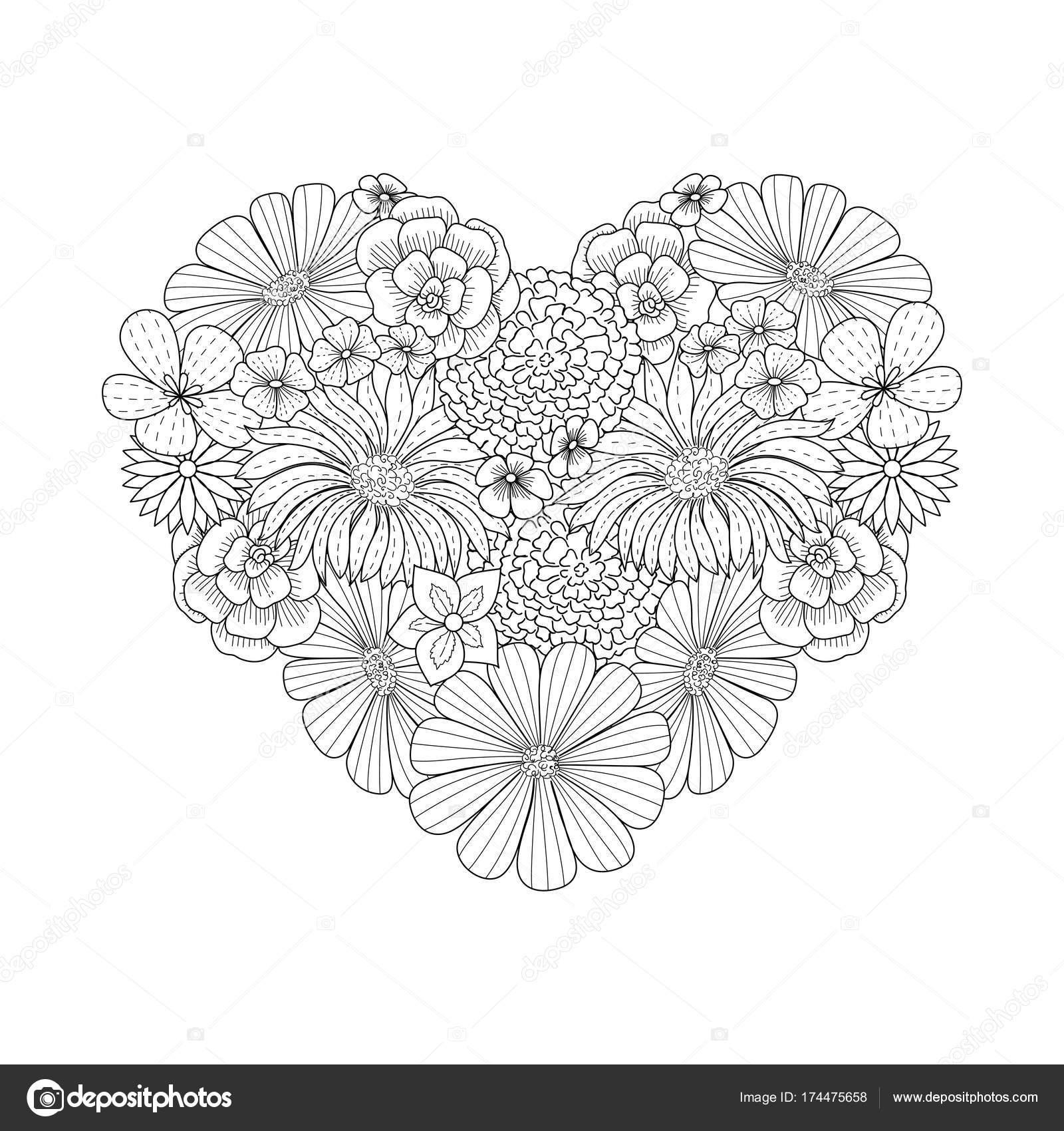 çiçek Kalp şekli Doodle Tarzı Boyama Kitabı Sayfası Stok Vektör