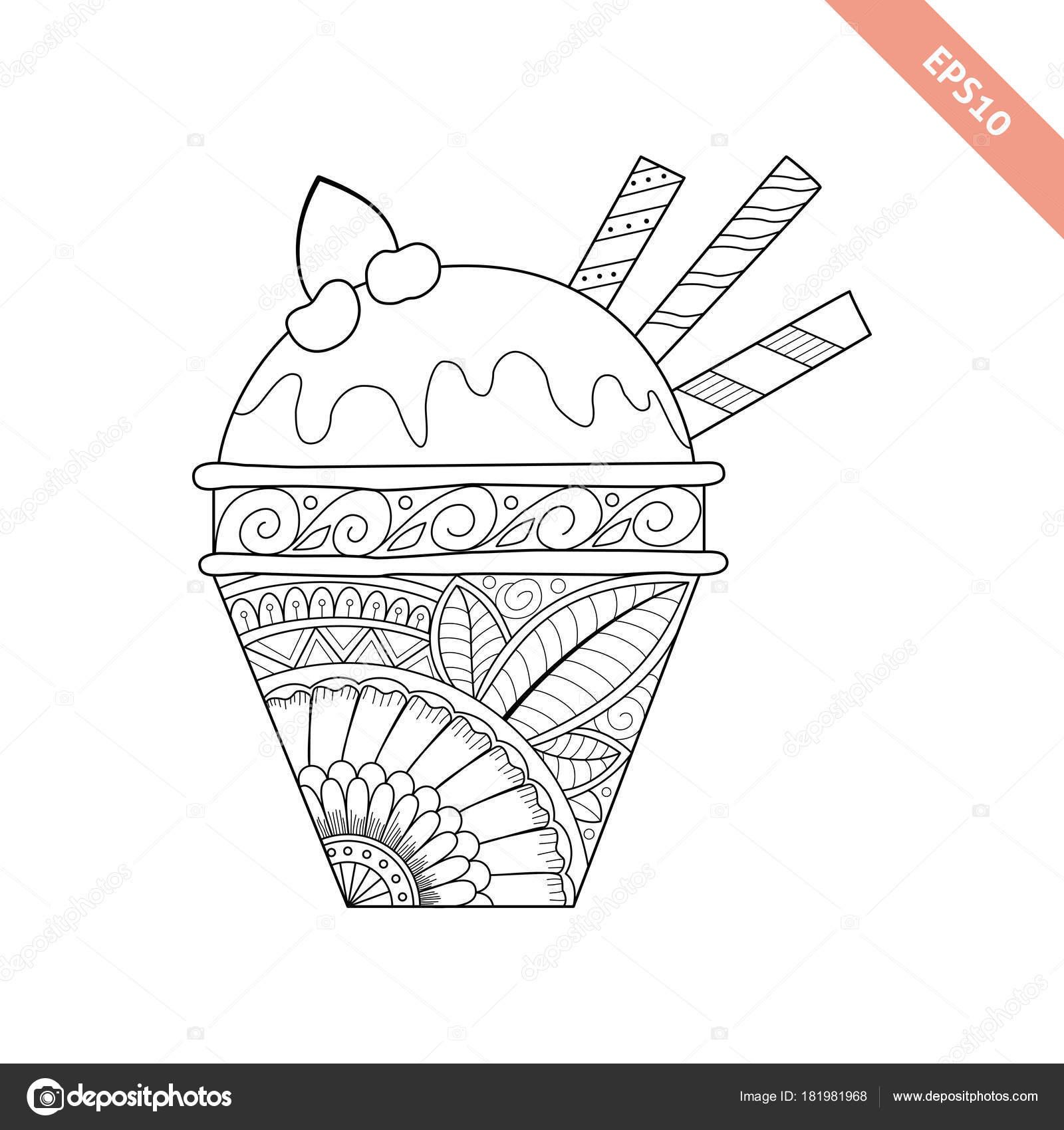 Desenhos Animados Mão Desenhada Sorvete No Waffle Vetores