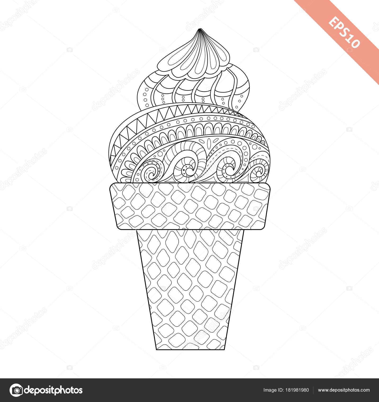 Dibujos animados mano dibujado helado en barquillo — Archivo ...