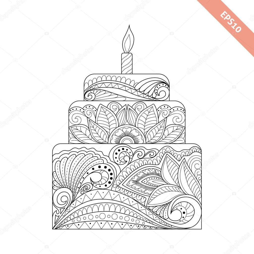 Big Cake With Candle With Floral Doodle Ornament