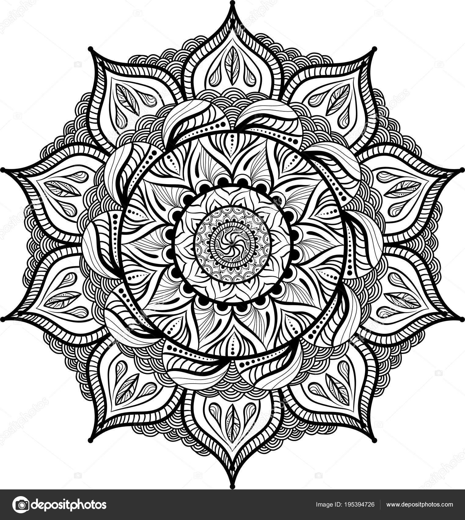 Beyaz Arka Plan üzerinde Dairesel Simetrik Mandala Kitap Boyama