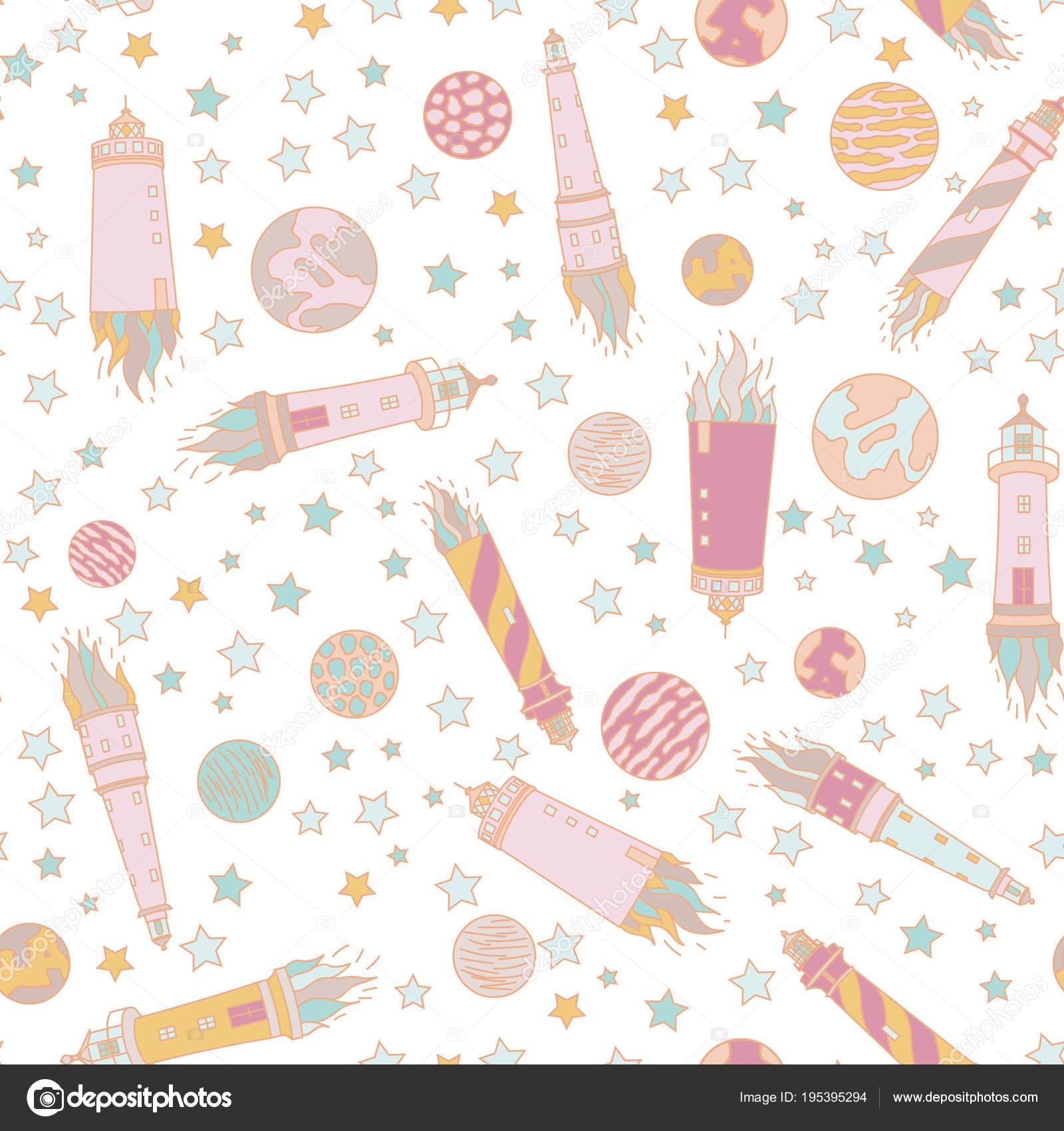 Patrón Transparente Con Estrellas Colores Dibujo Cohetes Cometas ...