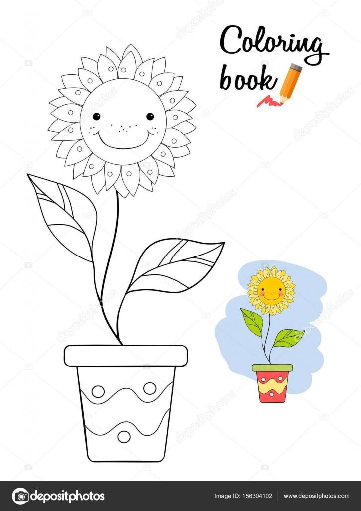 Bir Tencerede çiçek Gülümseyen Boyama Kitabı Sayfası Stok Vektör