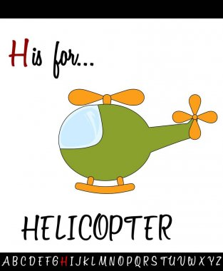 Illustrated vocabulary worksheet card with cartoon HELICOPTER